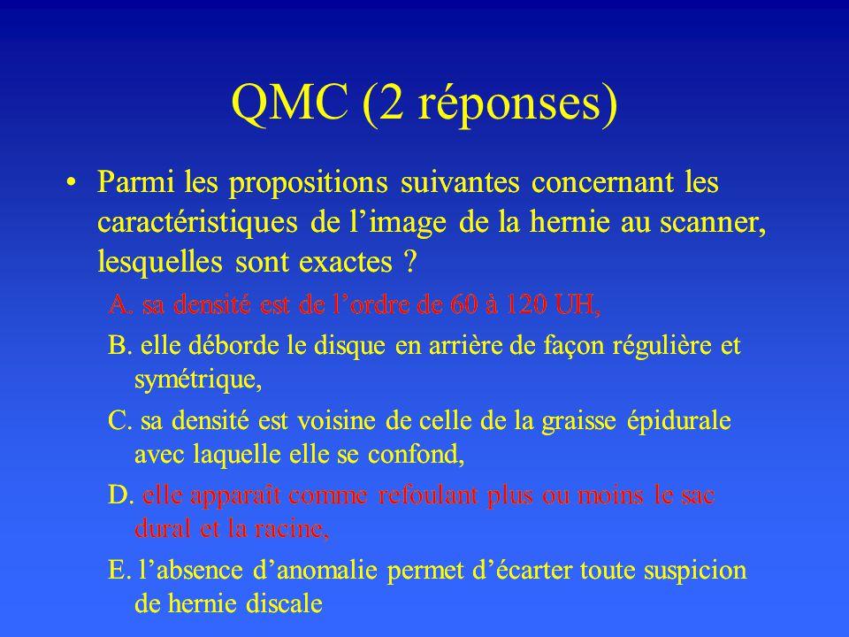 QMC (2 réponses) Parmi les propositions suivantes concernant les caractéristiques de l'image de la hernie au scanner, lesquelles sont exactes