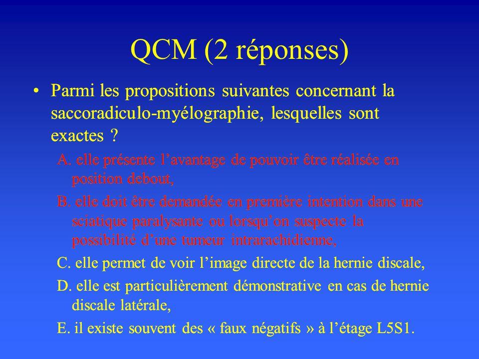 QCM (2 réponses) Parmi les propositions suivantes concernant la saccoradiculo-myélographie, lesquelles sont exactes