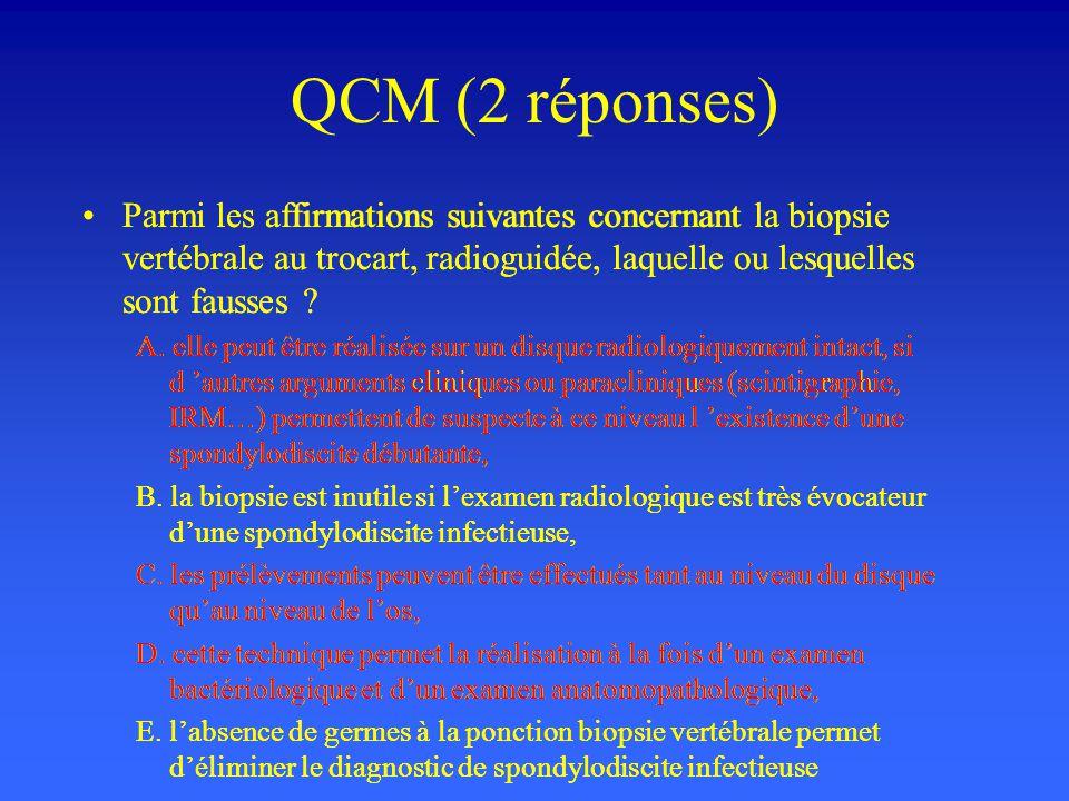 QCM (2 réponses) Parmi les affirmations suivantes concernant la biopsie vertébrale au trocart, radioguidée, laquelle ou lesquelles sont fausses