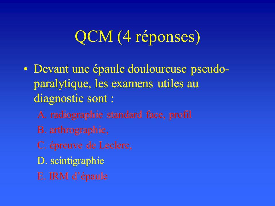 QCM (4 réponses) Devant une épaule douloureuse pseudo-paralytique, les examens utiles au diagnostic sont :