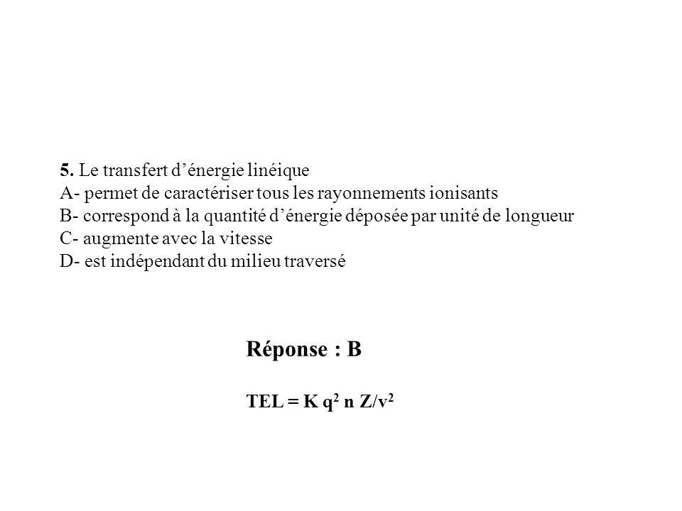 Réponse : B 5. Le transfert d'énergie linéique