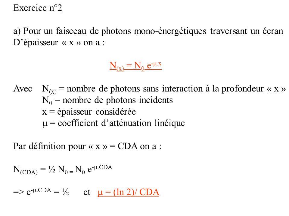 Exercice n°2 a) Pour un faisceau de photons mono-énergétiques traversant un écran. D'épaisseur « x » on a :