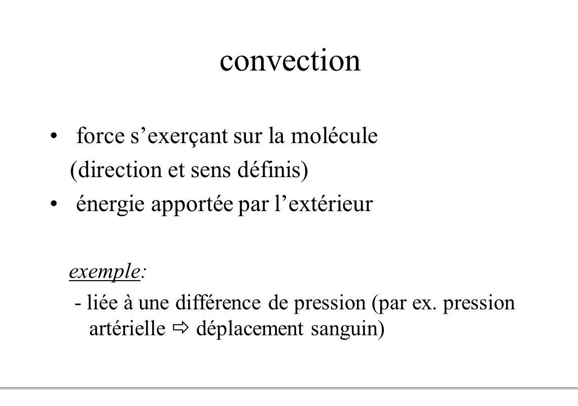 convection force s'exerçant sur la molécule