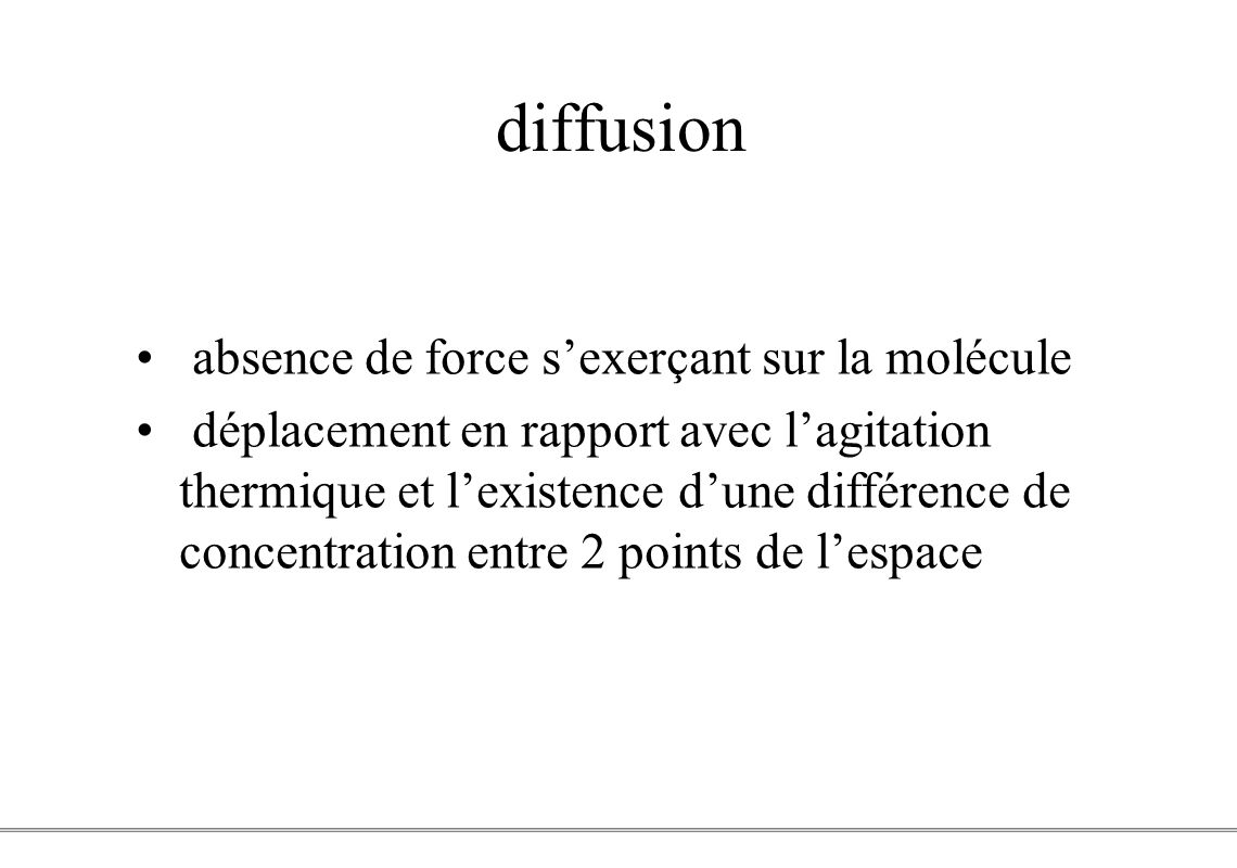 diffusion absence de force s'exerçant sur la molécule