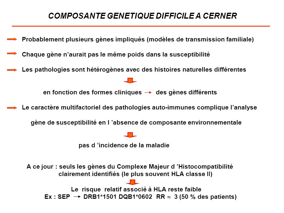 COMPOSANTE GENETIQUE DIFFICILE A CERNER