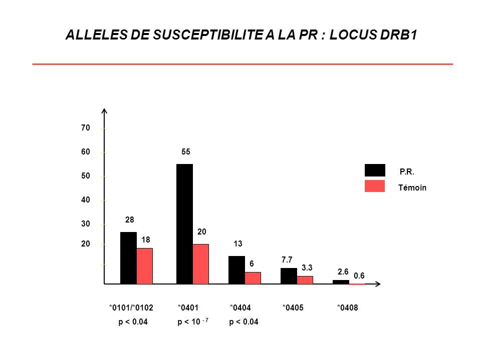 ALLELES DE SUSCEPTIBILITE A LA PR : LOCUS DRB1