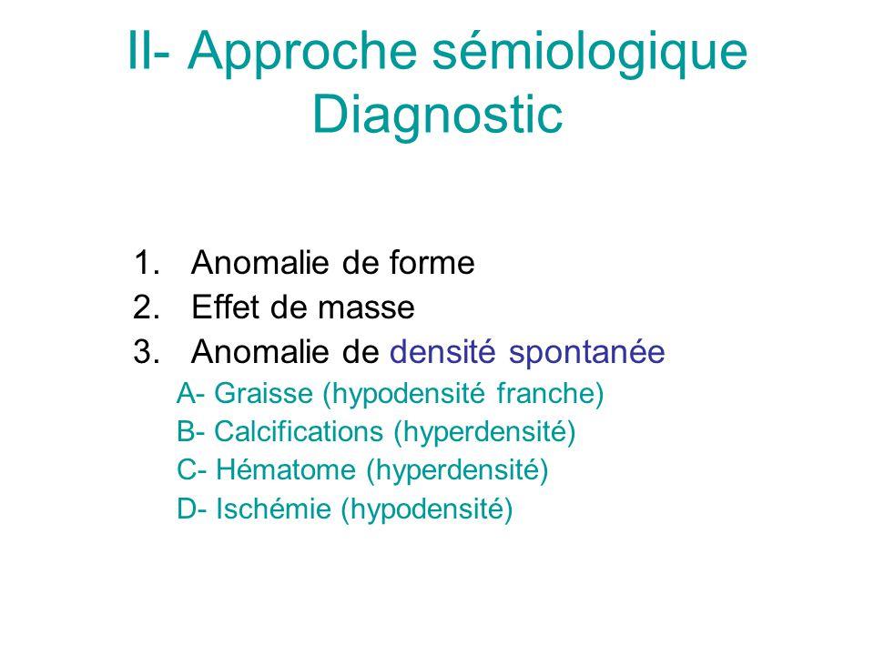 II- Approche sémiologique Diagnostic