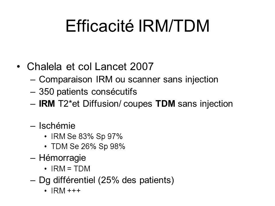 Efficacité IRM/TDM Chalela et col Lancet 2007
