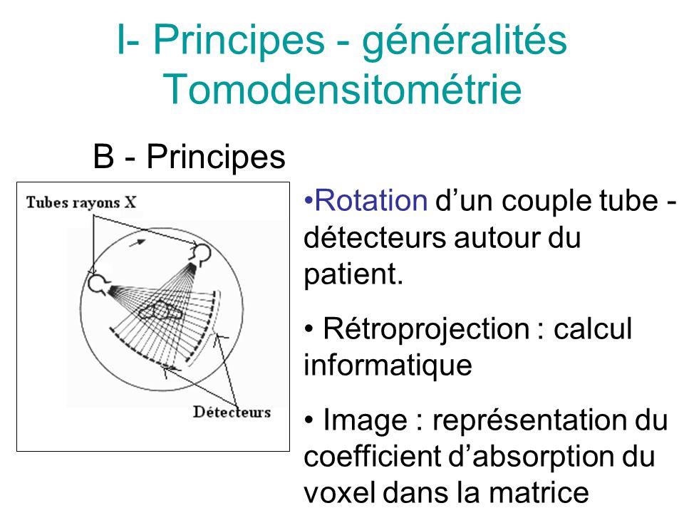 I- Principes - généralités Tomodensitométrie