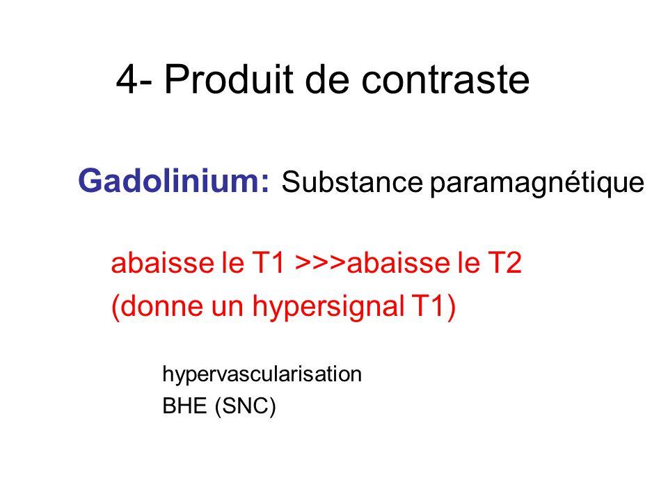 4- Produit de contraste Gadolinium: Substance paramagnétique