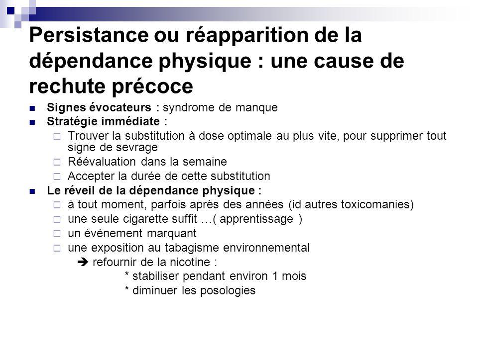 Persistance ou réapparition de la dépendance physique : une cause de rechute précoce