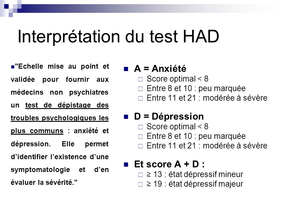 Interprétation du test HAD
