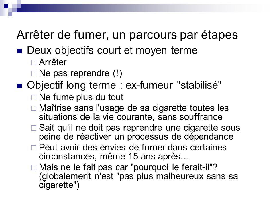 Arrêter de fumer, un parcours par étapes