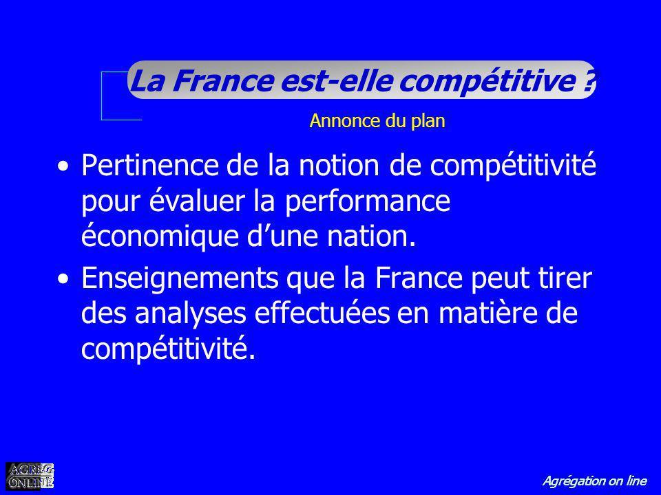 Annonce du plan Pertinence de la notion de compétitivité pour évaluer la performance économique d'une nation.