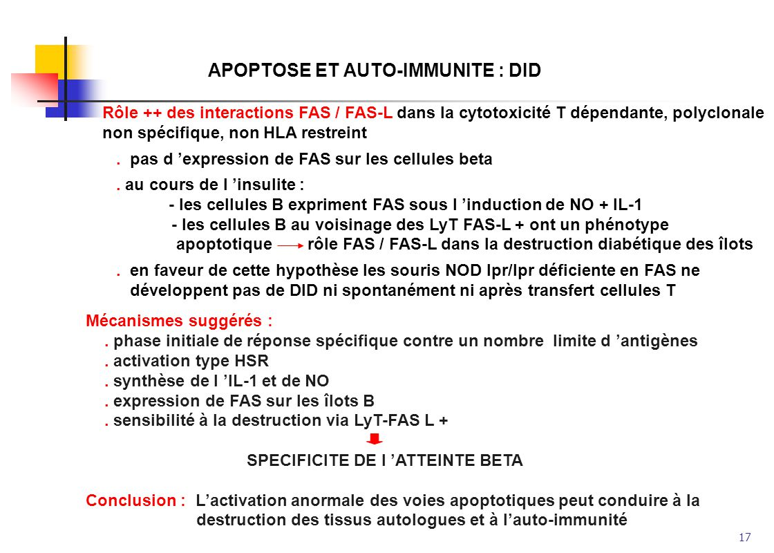 APOPTOSE ET AUTO-IMMUNITE : DID
