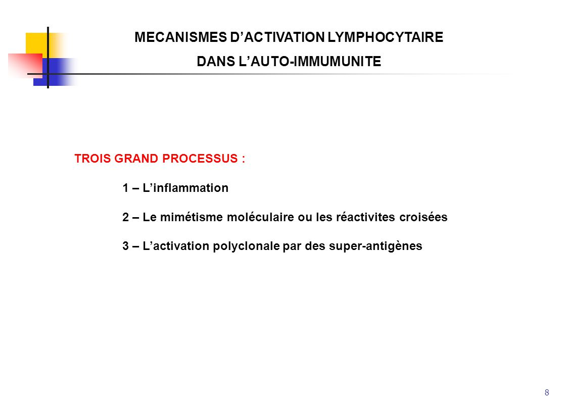 MECANISMES D'ACTIVATION LYMPHOCYTAIRE DANS L'AUTO-IMMUMUNITE
