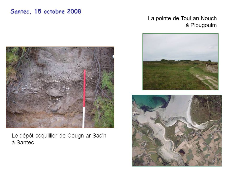 Santec, 15 octobre 2008 La pointe de Toul an Nouch. à Plougoulm. Le dépôt coquillier de Cougn ar Sac'h.