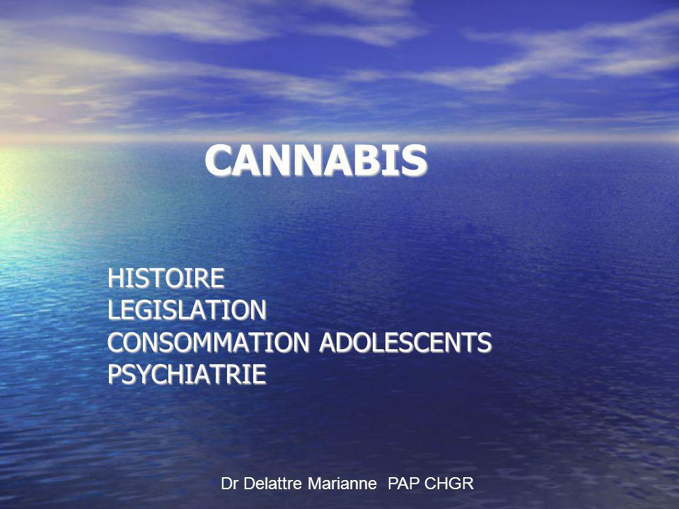 CANNABIS HISTOIRE LEGISLATION CONSOMMATION ADOLESCENTS PSYCHIATRIE