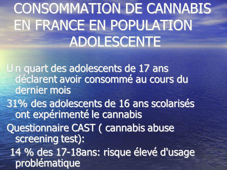 CONSOMMATION DE CANNABIS EN FRANCE EN POPULATION ADOLESCENTE