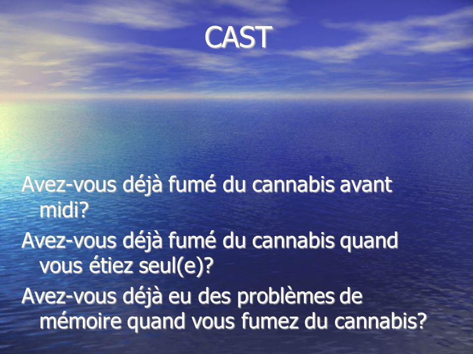 CAST Avez-vous déjà fumé du cannabis avant midi