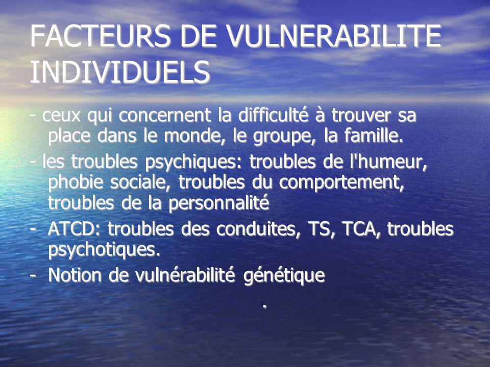 FACTEURS DE VULNERABILITE INDIVIDUELS
