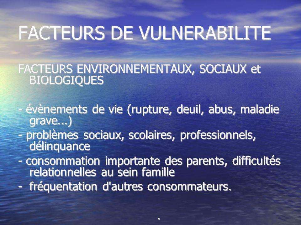 FACTEURS DE VULNERABILITE