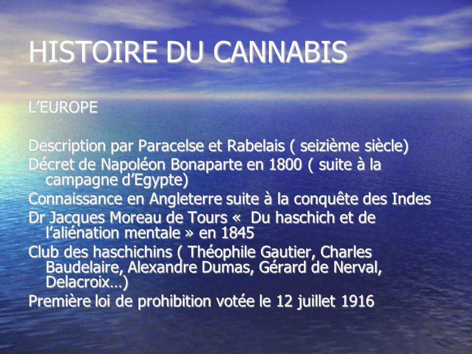 HISTOIRE DU CANNABIS L'EUROPE