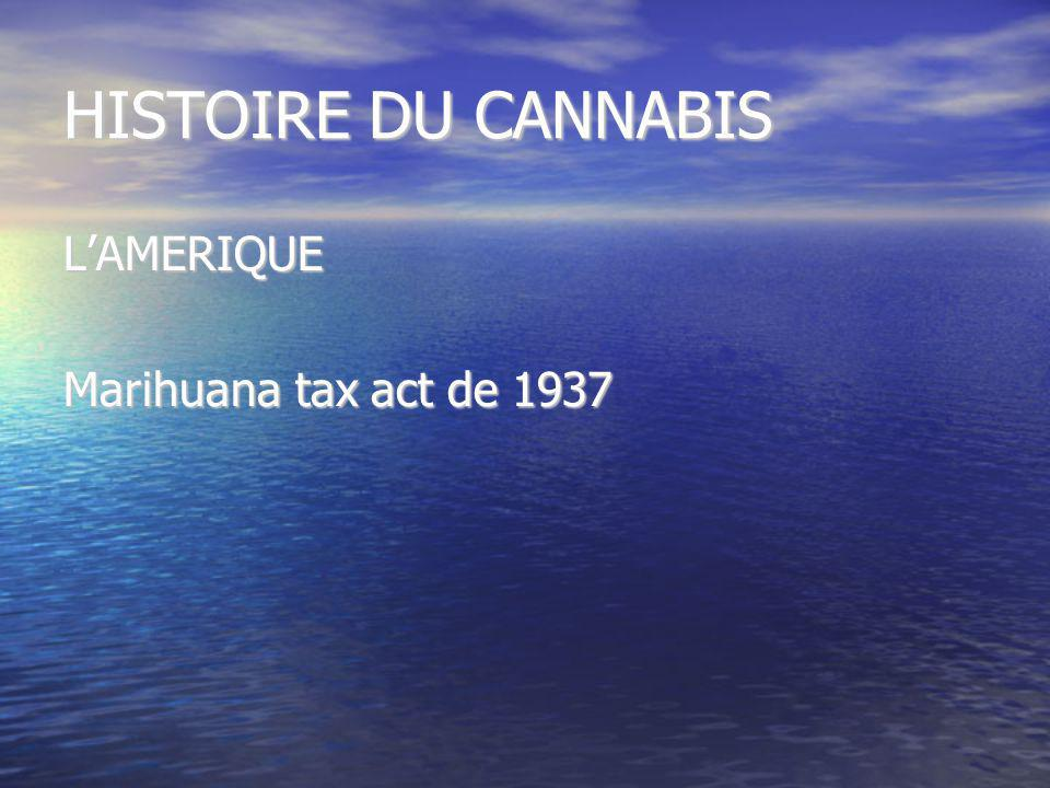 HISTOIRE DU CANNABIS L'AMERIQUE Marihuana tax act de 1937
