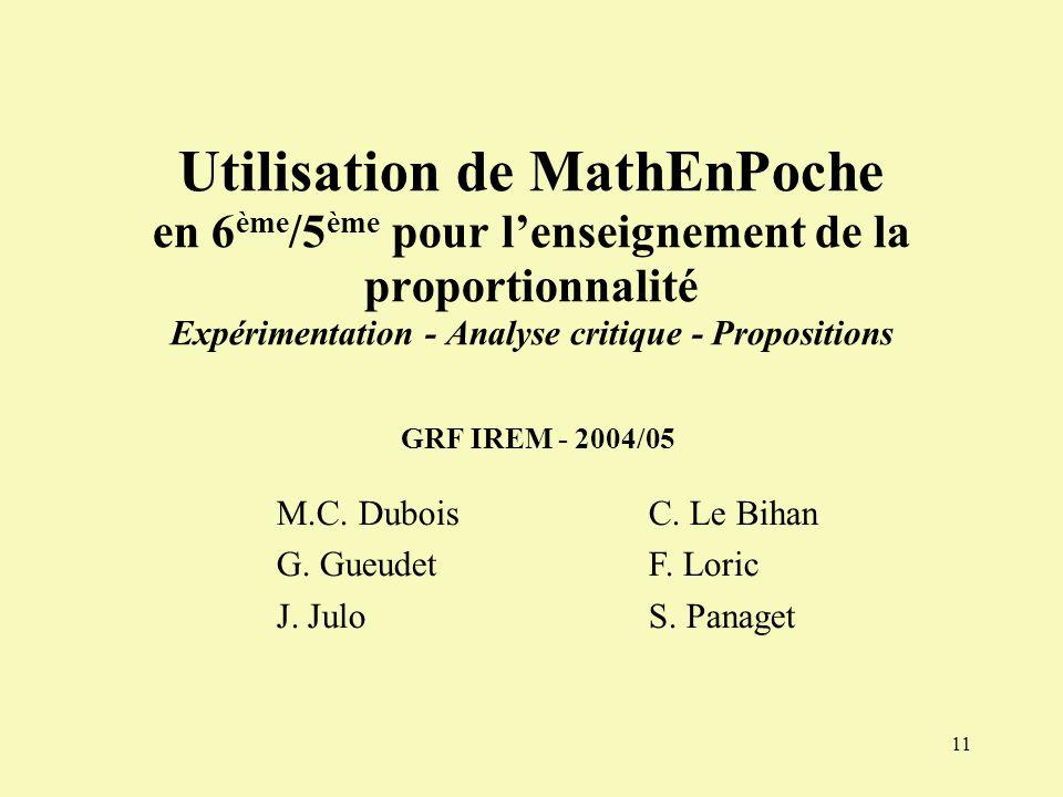 M.C. Dubois G. Gueudet J. Julo