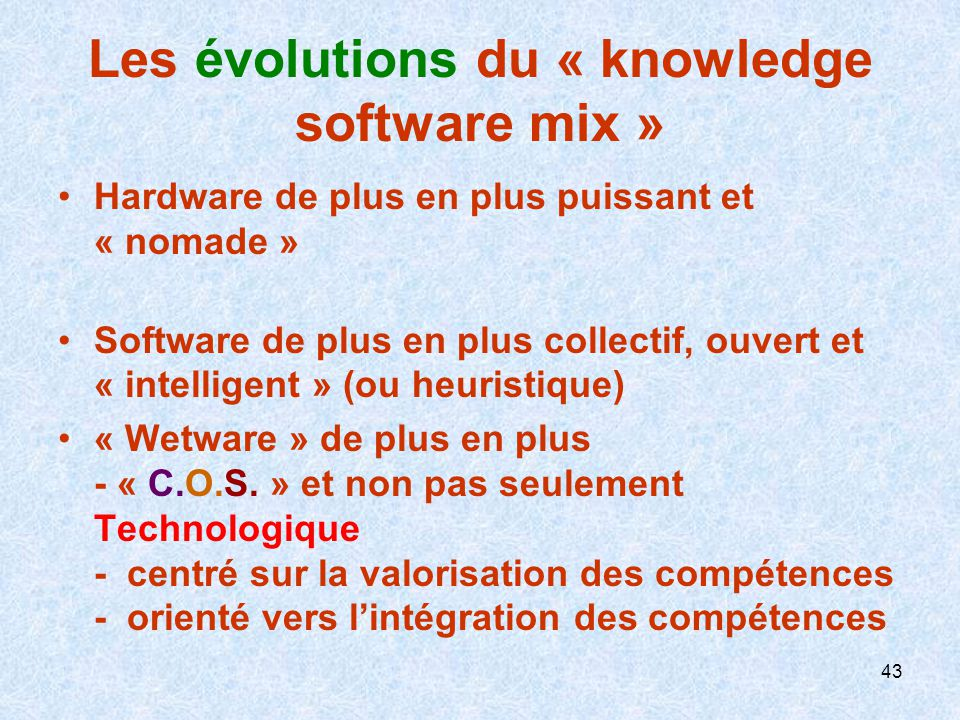 Les évolutions du « knowledge software mix »