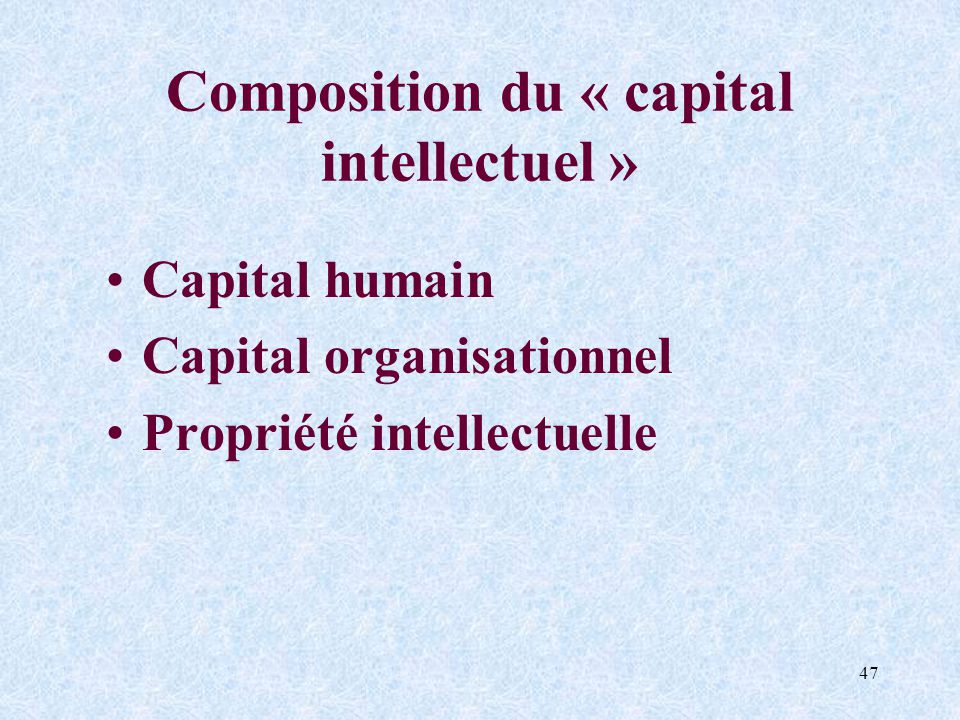 Composition du « capital intellectuel »