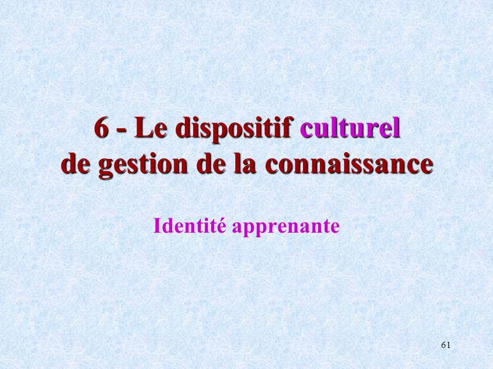 6 - Le dispositif culturel de gestion de la connaissance