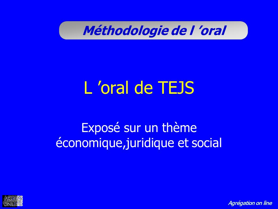 Exposé sur un thème économique,juridique et social