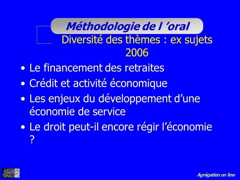 Diversité des thèmes : ex sujets 2006