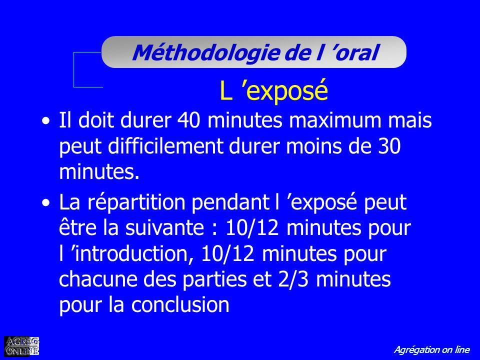 L 'exposé Il doit durer 40 minutes maximum mais peut difficilement durer moins de 30 minutes.