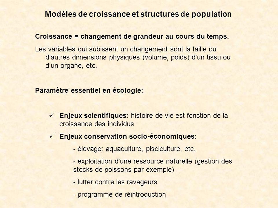 Modèles de croissance et structures de population