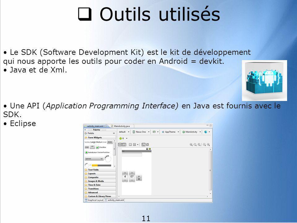 Outils utilisés • Le SDK (Software Development Kit) est le kit de développement. qui nous apporte les outils pour coder en Android = devkit.