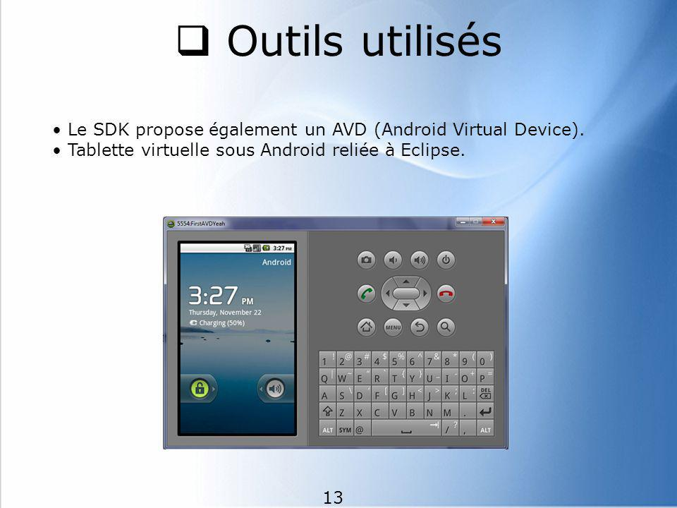 Outils utilisés • Le SDK propose également un AVD (Android Virtual Device). • Tablette virtuelle sous Android reliée à Eclipse.