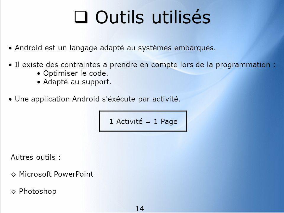 Outils utilisés • Android est un langage adapté au systèmes embarqués.