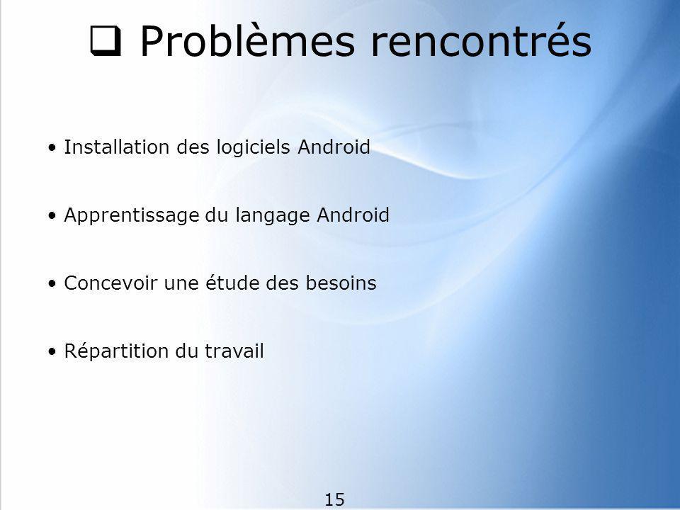 Problèmes rencontrés Installation des logiciels Android