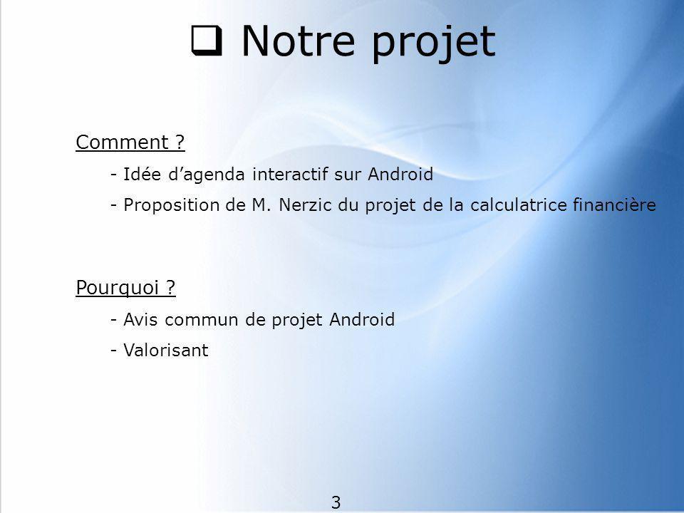 Notre projet Comment Pourquoi Idée d'agenda interactif sur Android