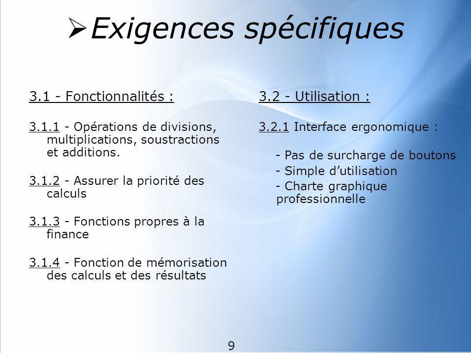 Exigences spécifiques