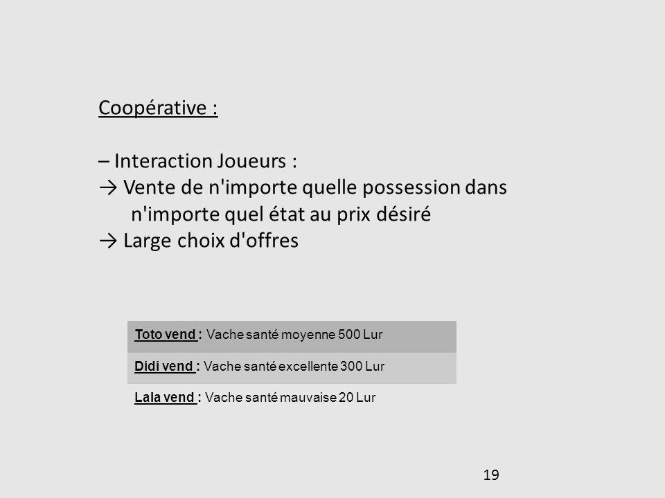 – Interaction Joueurs :