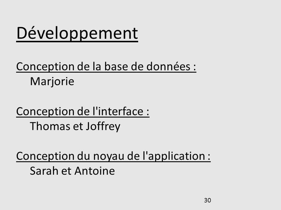 Développement Conception de la base de données : Marjorie