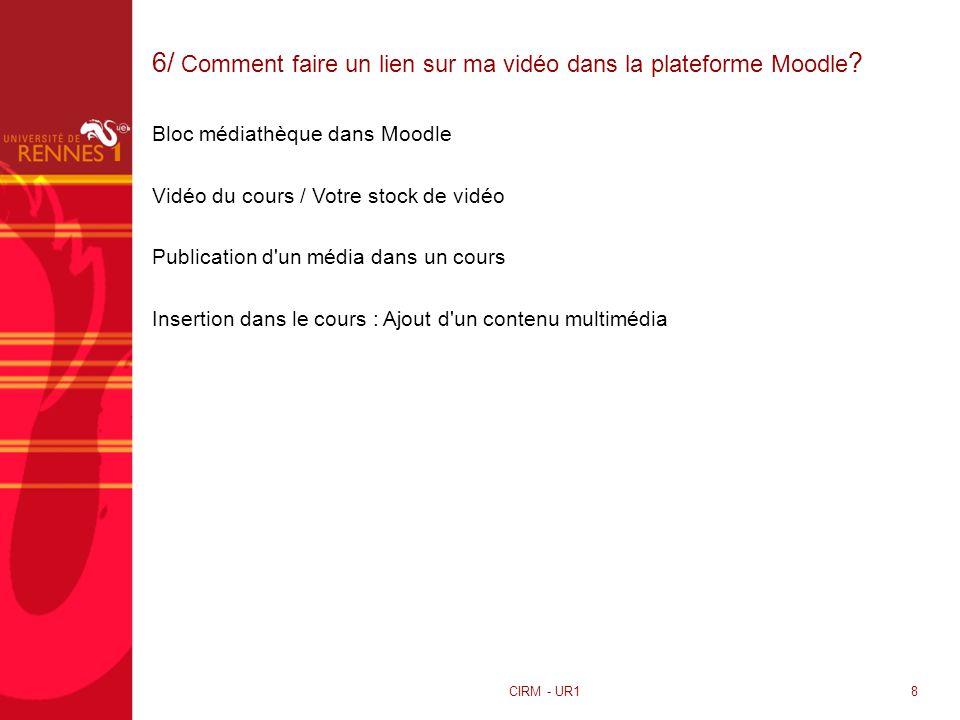 6/ Comment faire un lien sur ma vidéo dans la plateforme Moodle