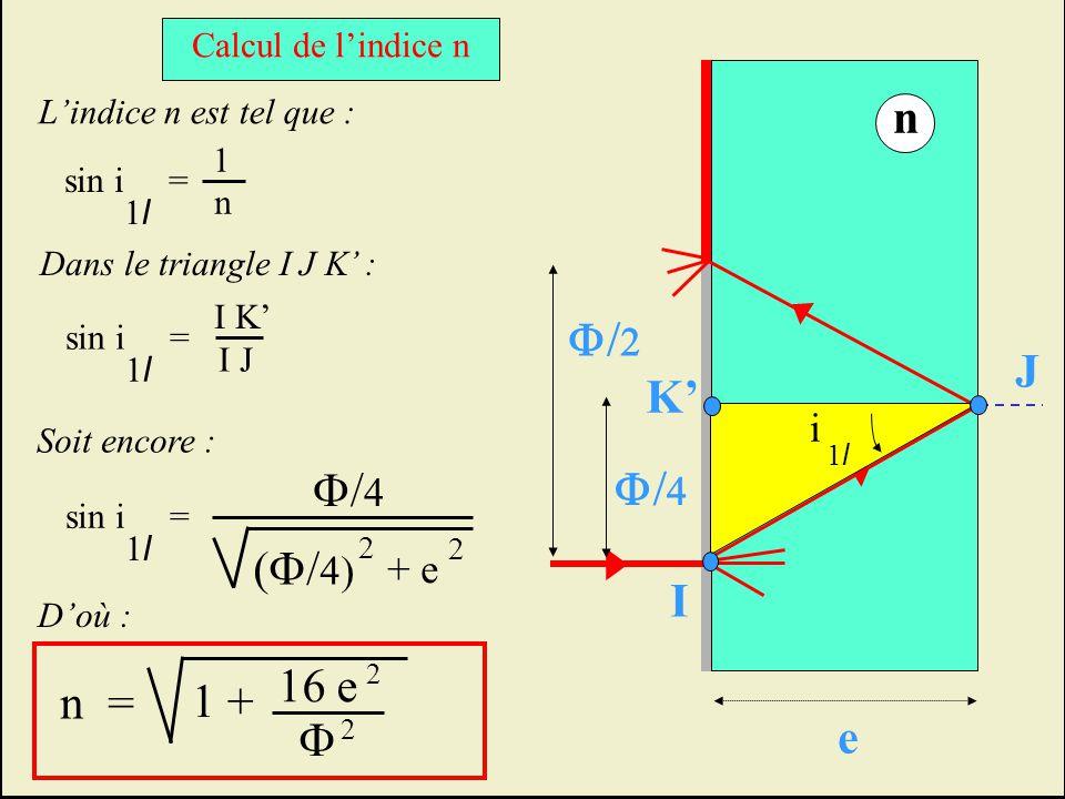 n F/2 J K' F/4 F/4 (F/4) I 16 e n = 1 + F e i + e Calcul de l'indice n