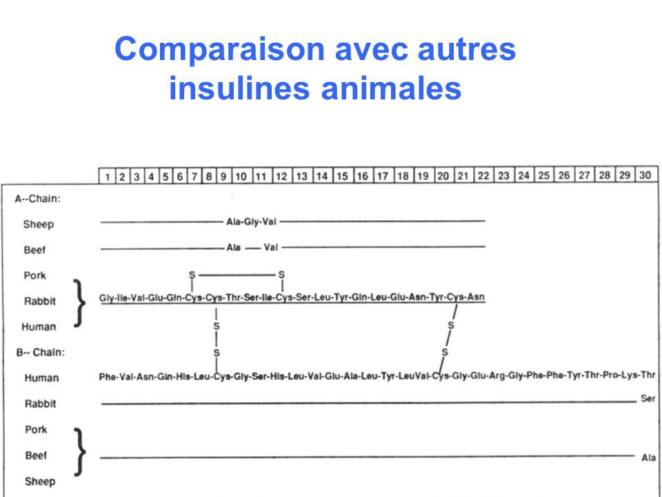 Comparaison avec autres insulines animales