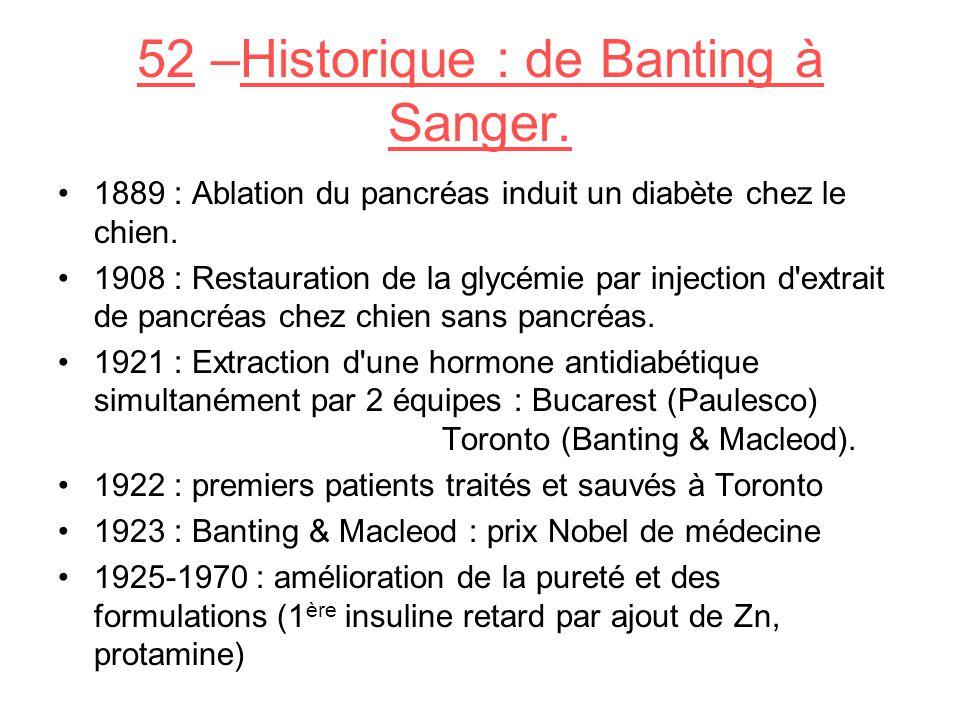 52 –Historique : de Banting à Sanger.