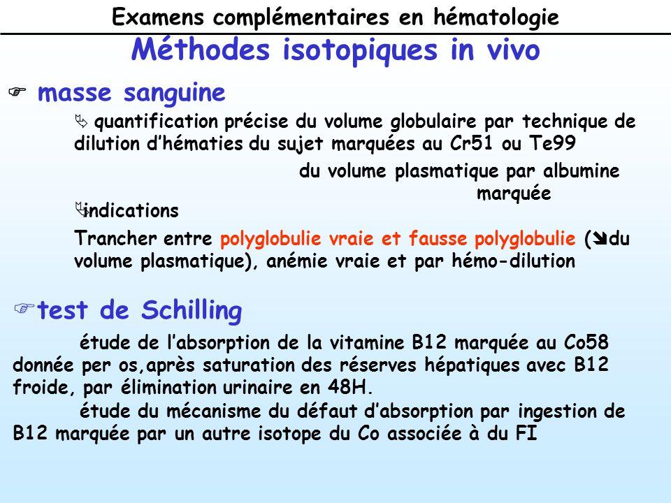 Examens complémentaires en hématologie Méthodes isotopiques in vivo