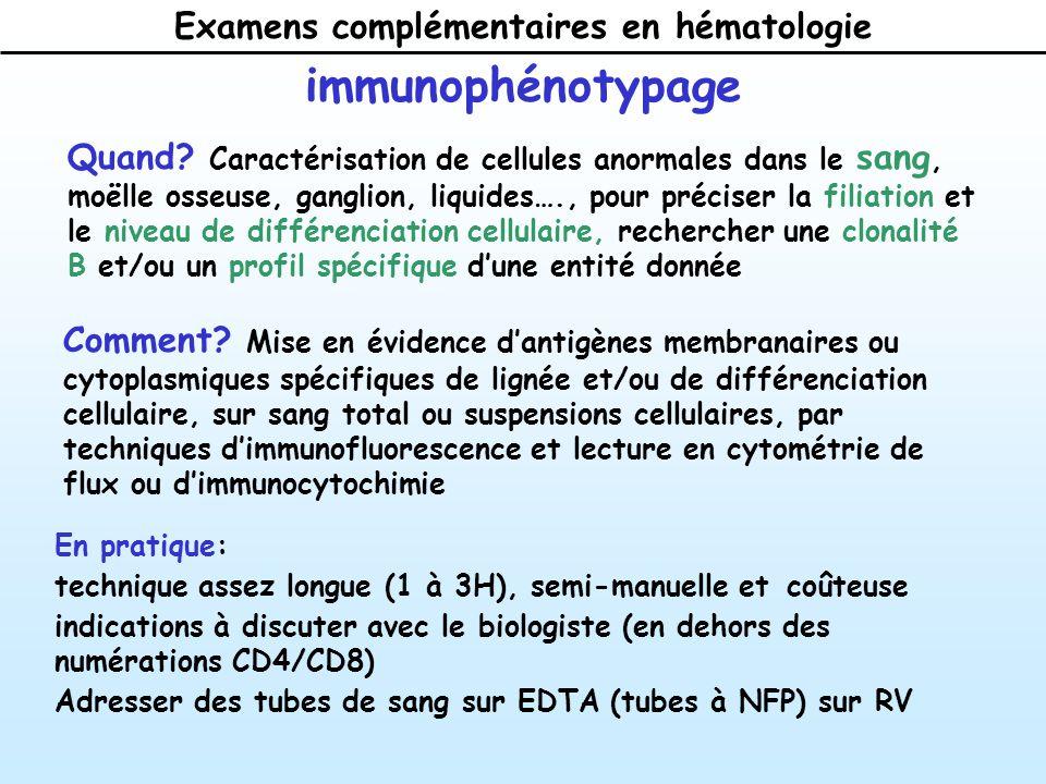 Examens complémentaires en hématologie